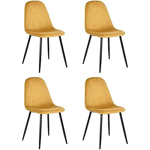 MEUBLE COSY Mueble – Juego de 4 sillas de comedor escandinavas con asiento y respaldo recubiertas de terciopelo amarillo, silla de oficina con patas de metal, color amarillo, 44 x 53 x 86 cm