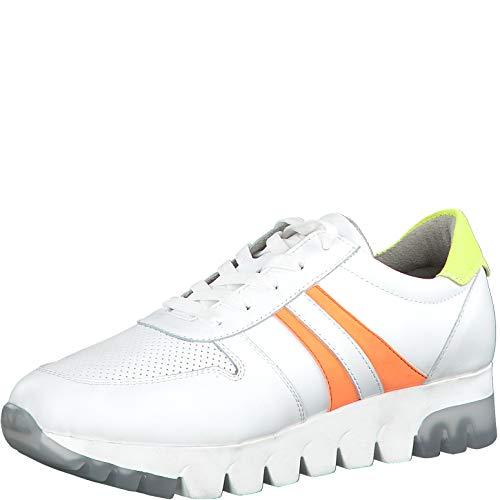 Tamaris Damen Schnürhalbschuhe 23749-24, Frauen sportlicher Schnürer, lose Einlage, strassenschuh Sneaker schnürer,White LEA/NEON,42 EU / 8 UK