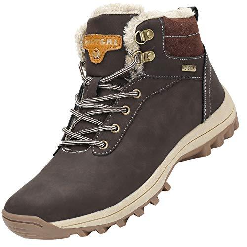 Mishansha Mujer Hombre Botas para Invierno con Forro de Piel Cálidas Zapatos para Caminar Senderismo y Trekking - Calentitas Cómodas Antideslizantes(Marrón, 43 EU)