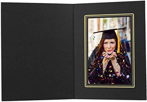 Golden State Art, Acid-Free Photo Folders for 4x6 Picture,Pack of 50 Black with Gold Lining Cardboard/Paper Frames,Great for Portraits and Photos,Special Events: Graduation,Weddings