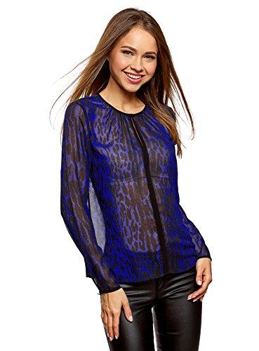 oodji Ultra Mujer Blusa de Tejido Fluido con Acabado en Contraste, Azul, ES 40 / M