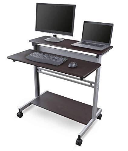 40' Dark Walnut Shelves Mobile Ergonomic Stand Up Desk Computer Workstation