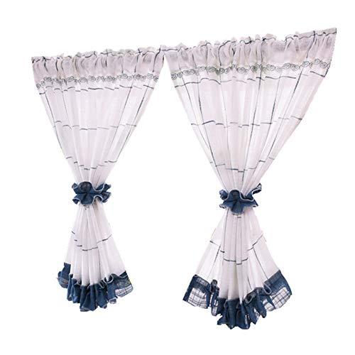 Karierte Kurze Vorhänge, Weiß-Blauer Leinen Vorhang, Halber Vorhang, Schiebegardine Schrank/Balkon/Küche Querbehang, Verkauft Von 2 Stück