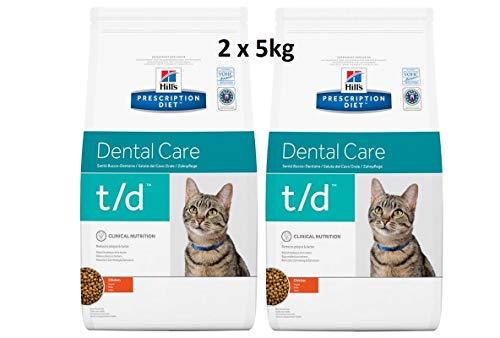 Hills Prescription Diet Feline t/d Dental Care: 2 x 5kg Veterinary Diets Trockenfutter