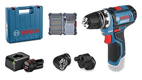 Bosch Professional 12V System Akku Bohrschrauber GSR 12V-15 FC (inkl. 1x2.0 Ah Akku, Schnelladegerät, 3x Bohrfutteraufsätze, 40tlg. Zubehörset, im Koffer) - Amazon Edition