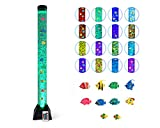 Sensory Bubble Tube Lamp Fish Bubble Lamp with 10 Fishes 20 Color Remote 4 Ft LED Bubble Floor Lamp for Autism Sensory Room and Bubble Aquarium for Kids Room Night Light