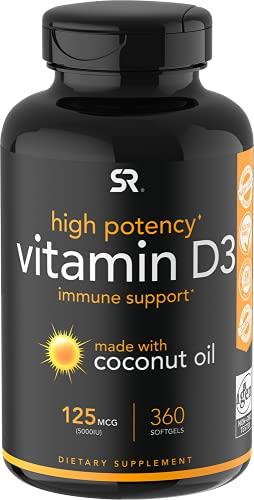 Vitamin D3 5000iu (125mcg) with Coconut Oil ~ High Potency Vitamin D for Immune & Bone Support ~ Non-GMO Verified, Gluten & Soy Free (360 Mini-Liquid Softgels)
