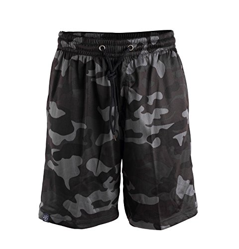 Manufaktur13 M13 Vandal Team - Shorts/Kurze Hose, Camouflage Mesh, Basketball Shorts, Graffiti Vandalism Camo Sporthose (XL, Navy Camo)