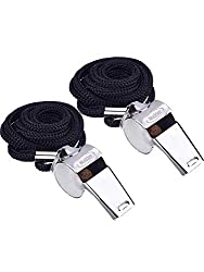 Pair of Mudder Metal Referee Whistles Coach Whistles with Lanyard for Football Coaches and Officials