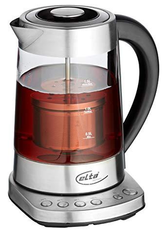 Elta Glas Tee- und Wasserkocher 2 in 1 Combi (Temperaturregelung, 4 Temperaturen, Edelstahl Teesieb, Warmhaltefunktion, 1,7L Wasser/1,2L Tee, 2400 W, Glas/Edelstahl), Farbe:silber