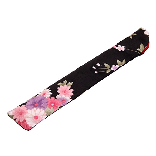 Chinese Hand Pocket Fan Bag Holder Protector Pouch Gift (Black)