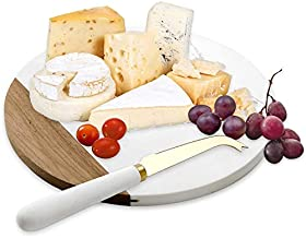 VUDECO White Marble and Acacia Wooden Cheese Board & Knife Set for Christmas Marble Tray for Meats Breads Charcuterie Round Cutting Serving Board Stainless Steel Knife - 10