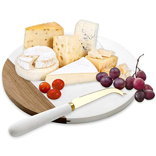 VUDECO White Marble and Acacia Wooden Cheese Board & Knife Set for Christmas Marble Tray for Meats Breads Charcuterie Round Cutting Serving Board Stainless Steel Knife - 10' Marble Slab Pastry Board
