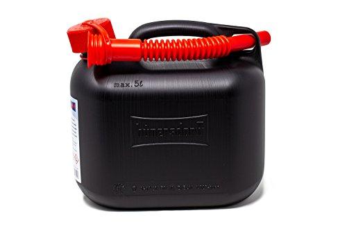 Hünersdorff Jerrycan 5 l, zwart, Made in Germany, TÜV-getest, geschikt voor benzine en diesel, geschikt voor E10, met veiligheidssluiting, incl. schenktuit