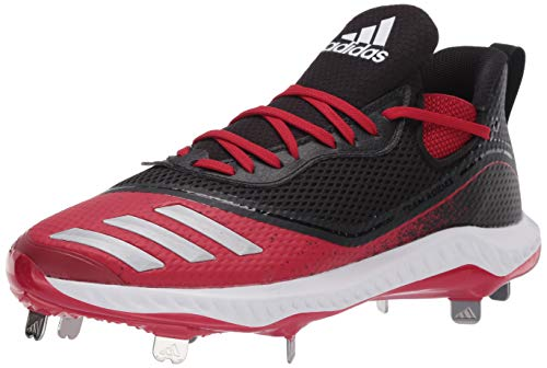 adidas Men's Icon V Bounce Cleats Baseball Shoe, Core Black/Silver Met./Power Red, 6.5 UK