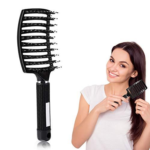 Filfeel Peine de cepillo de pelo, peluquería de salón Masaje cepillo de pelo y peluquería de nylon Herramientas de peinado(Black)