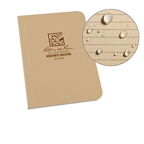 """Rite in the Rain Weatherproof Soft Cover Pocket Notebook, 3 1/2"""" x 5"""", Tan Cover, Universal Pattern (No. 954T)"""