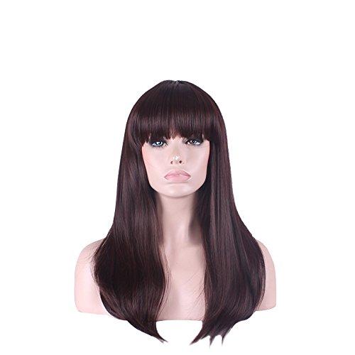 pelucas de la manière souhaitable et confortable de la señora de cheveux perruque cheveux Marron naturel haute température câble attention perruque Qi Liu Support Kit Perruque