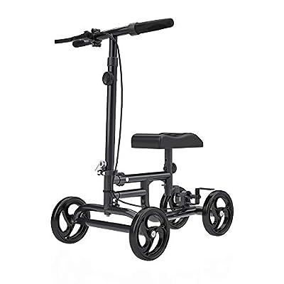 ELENKER Economy Knee Walker Steerable Medical Scooter Crutch Alternative Black