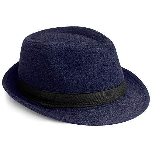 PORSYOND Fedora Hut Herren/Damen Panama Hut Sommer Trilby Derby Hut Filzhut Herren Winter Jazz Hut mit Band (A-Navyblau, Filz)