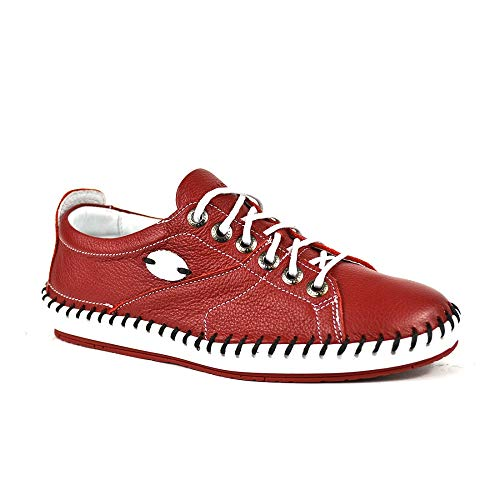 KRISBUT Sneakers Damen Casual Leder Halbschuh Sneaker Farbe Rot, Schuhgröße 38