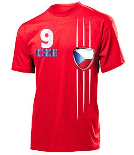 Tschechien Czech Republic Czechia Fan t Shirt Artikel 3335 Fuss Ball EM 2020 WM 2022 Team Trikot Look Flagge Fahne Jersey World Cup Männer Herren Jungen L