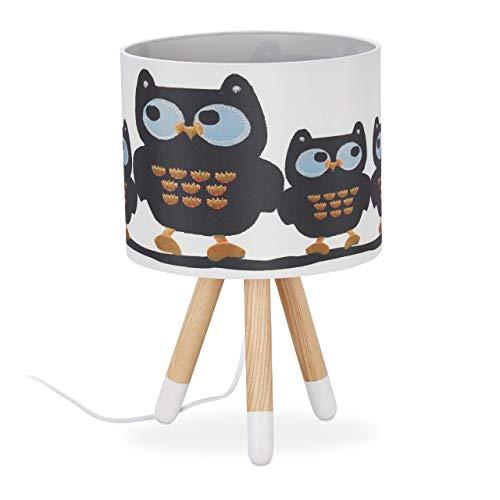 Relaxdays Tischlampe Kinder, süßes Eulen Motiv, E14, Dreibein Lampe, Stoff Lampenschirm, Holz, HxD: 39 x 25 cm, weiß