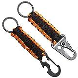 G&N Lot de 2 porte-clés en paracorde avec mousqueton, lanière tressée pour clés, couteau, lampe de poche, de Camping nœud d'urgence outils d'ouverture de bouteille (Orange noir)