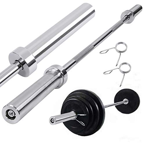 5' Olympic Weightlifting Barbell,Cross Training Weight Lifting Workout Bar Weight Straight Bar for Home Gym Exercises with 2