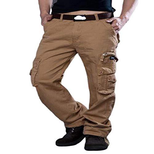 Katenyl Pantalones Rectos para Hombre, Bolsillo con Costura, Ropa de Calle a la Moda, Trabajo de Combate al Aire Libre, Pantalones Cargo básicos de Cintura Media 29