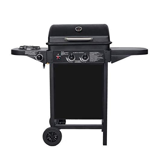 BROILUCK Barbecue a gas per esterni, 2 + 1 bruciatore per cucina, carrello per barbecue,8.7KW