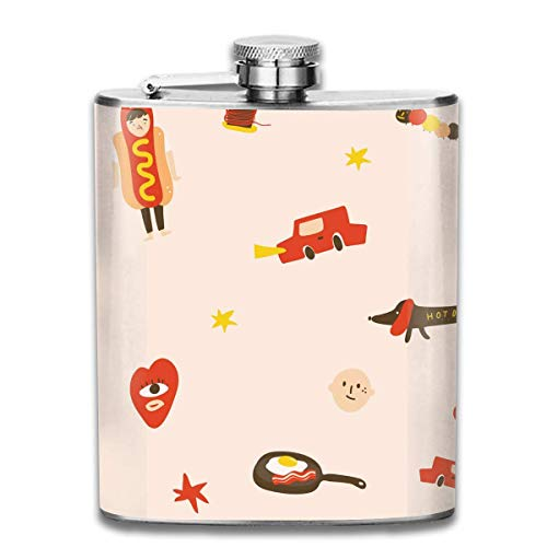 Sausage Dog Egg Bacon Car Fashion Portable Stainless Steel Hip Flask Whiskey Bottle for Men and Women 7 Oz