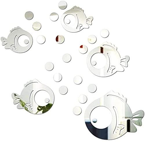 Burbuja sintética Peces baño acrílico espejo decorativo adhesivo pared arte espejo baño azulejos pegatinas impermeable casa cocina multi estilos arte arte pegatinas arte etiqueta mural Beauti