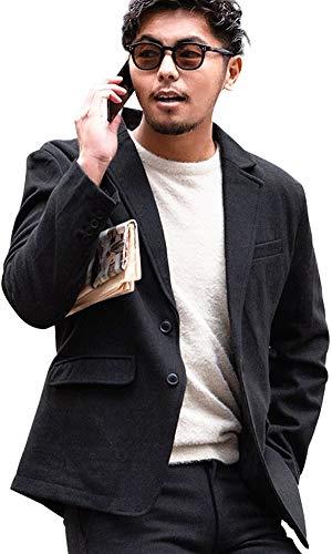 (キャバリア)CavariA メンズ テーラードジャケット ウール グレンチェック ツイード 無地