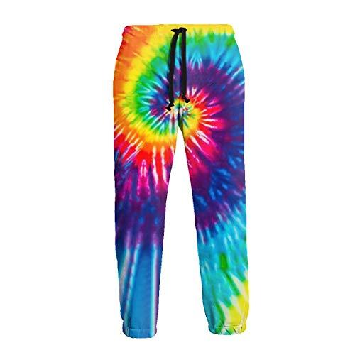 Losturban Men's 3D Print Rainbow Tie Dye Jogger Pants Graphic Trouser Sweatpant L
