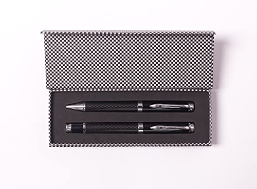 PROJECTS Set di penne a sfera in carbonio, set da 2 pezzi, di alta qualità, per uomini e donne, elegante confezione regalo con penna a sfera nera, per uomini e donne