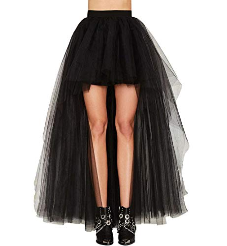 Falda Tutu Mujer Faldas de Tul Largas Falda Tul Disfraz Fiesta Larga para Bodas Disfraces con Tutu Ballet Largo Tutú Adulto Tutus Largos para Adultos Enaguas para Vestidos Pollera de Tul Negro