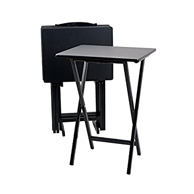 PJ Wood 5-piece Set TV Tray Table in Black Finish