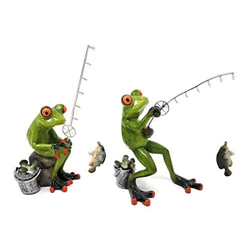 Süßer Frosch ~ Angler sitzend ~ Deko Figur Dekofigur Dekoration Zierfigur