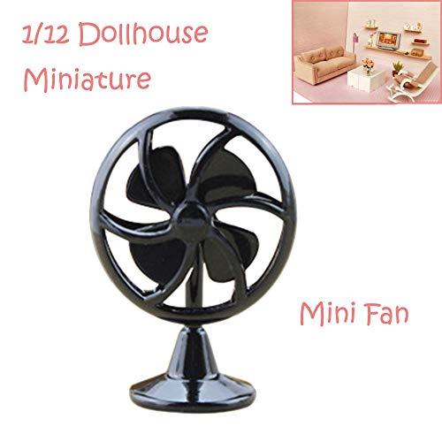 Binory Mini Old Fashioned Lobby Fan for 1/6 1/12 Dollhouse Furniture,Fashion Modern Design Miniature Home Living Room Kids Pretend Toy,Creative Birthday Handcraft Gift(Black)
