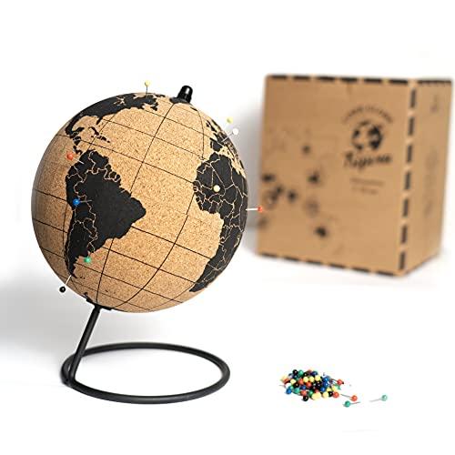 Tripvea - Globe terrestre Vintage en liège - Globe en liège (Dimension : 15 cm) - Mappemonde décorative thème Voyage