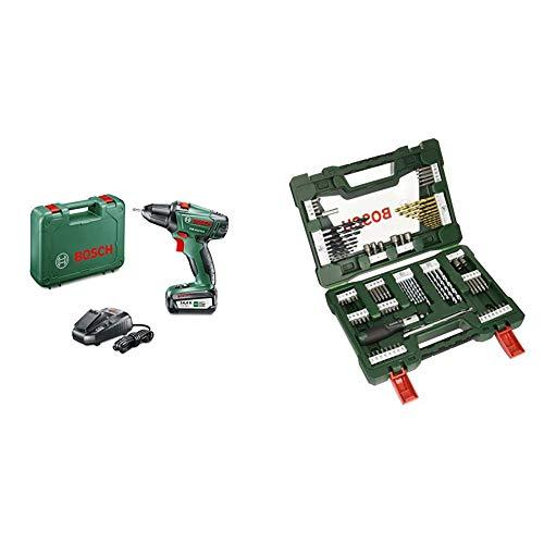 Bosch Akkuschrauber PSR 14,4 LI-2 + Bosch 91tlg. Bohrer- und Bit Set V-Line Box (Holz, Stein und Metall, Zubehör für Bohr- und Schraubwerkzeuge)