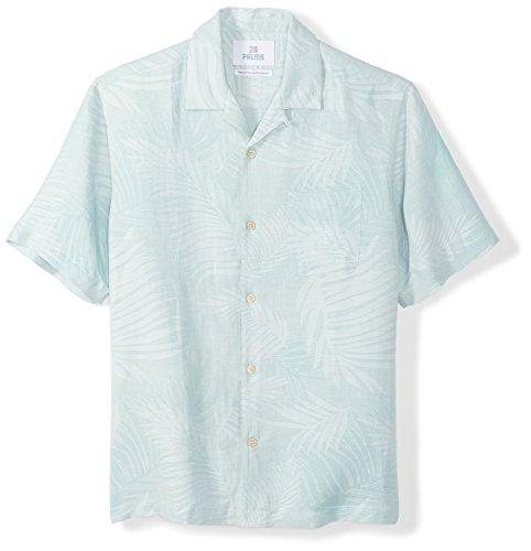 28 Palms Men's Relaxed-Fit Silk/Linen Tropical Leaves Jacquard Shirt, Aqua, XX-Large
