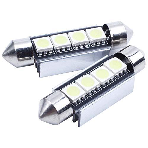 WOVELOT 10x 42MM Navette 5050 4 SMD LED Ampoule Voiture Lampe Canbus Anti sans Erreur ODB Feston Blanc