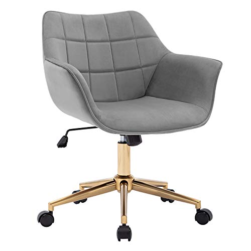 Duhome Modern Home Office Chair Velvet Desk Chair with Gold Metal Base with Mid Back Cute Ergonomic Computer Desk Chair Task Chair with Arms, Wheels Adjustable Swivel 1PCS (Grey Velvet)