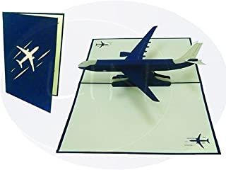 LIN Pop Up 3D Greeting Card for Pilots and Flight Enthusiasts, Airplane, large card (6 x 7.8 inches), (#147)