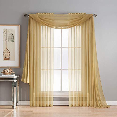 "Diamond Linen Beautiful Elegant Sheer Voile Window Treatment Rod Pocket 2 PC Curtain Elegant Panels for Bedroom Many Colors (Gold, 1 Scarf: 55"" x 216"")"