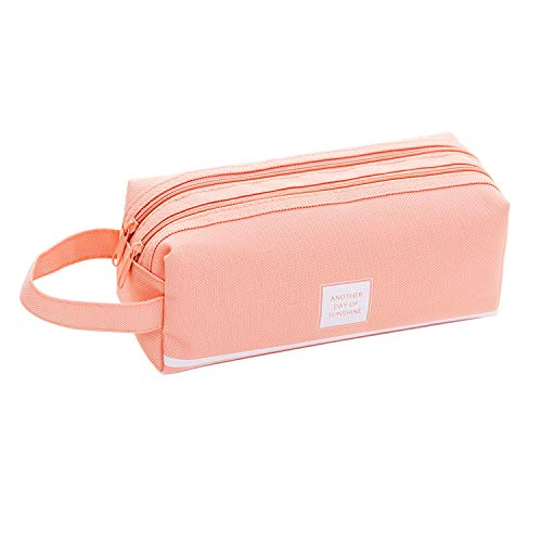 Beloca Pencil Case Large Capacity Student Stationery Pouch Pen Bag with Double Zipper Closure Office Pen Holder Organizer Stationery Bag Cosmetic Bag Pink