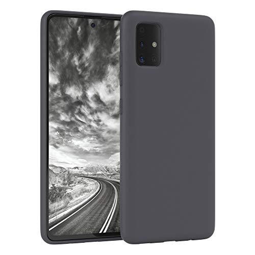EAZY CASE Nano Silikon Handyhülle kompatibel mit Samsung Galaxy A51, Slimcover mit Kameraschutz & Innenfutter, Silikonhülle, Schutzhülle, Bumper, Handy Hülle, Hülle, Softcase Ultra dünn, Anthrazit
