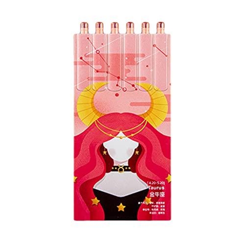 OKwife, 6 uds, bolígrafo de Gel retráctil de Dibujos Animados, bolígrafo de Gel Negro Recargable, diseño de Doce Constelaciones, Regalo de Punta de Bala de 0,5mm para Estudiantes